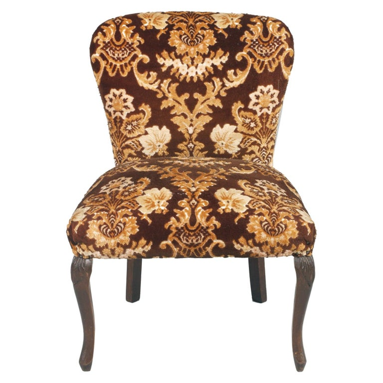 Italian Original Pair of Bedroom Armchairs with Footstool, Damask Velvet Upholstered For Sale