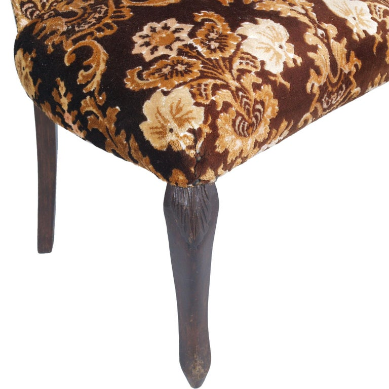 Original Pair of Bedroom Armchairs with Footstool, Damask Velvet Upholstered For Sale 1