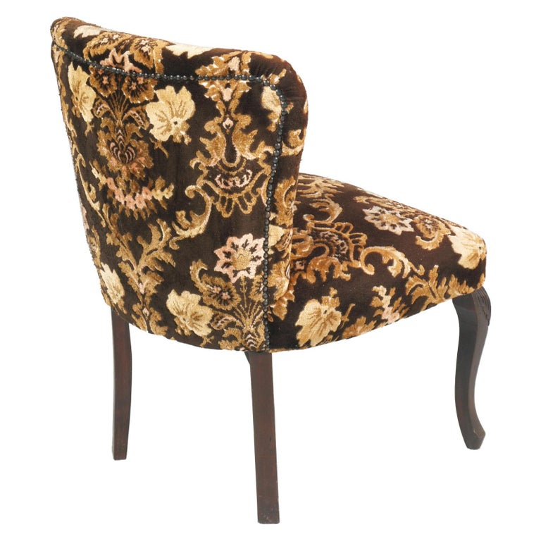Original Pair of Bedroom Armchairs with Footstool, Damask Velvet Upholstered For Sale 2