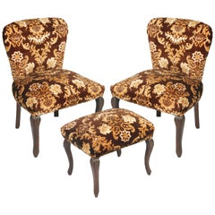 Original Pair of Bedroom Armchairs with Footstool, Damask Velvet Upholstered