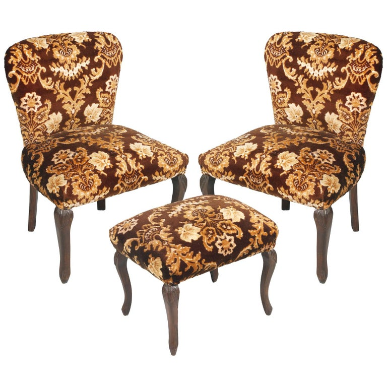 Original Pair of Bedroom Armchairs with Footstool, Damask Velvet Upholstered For Sale