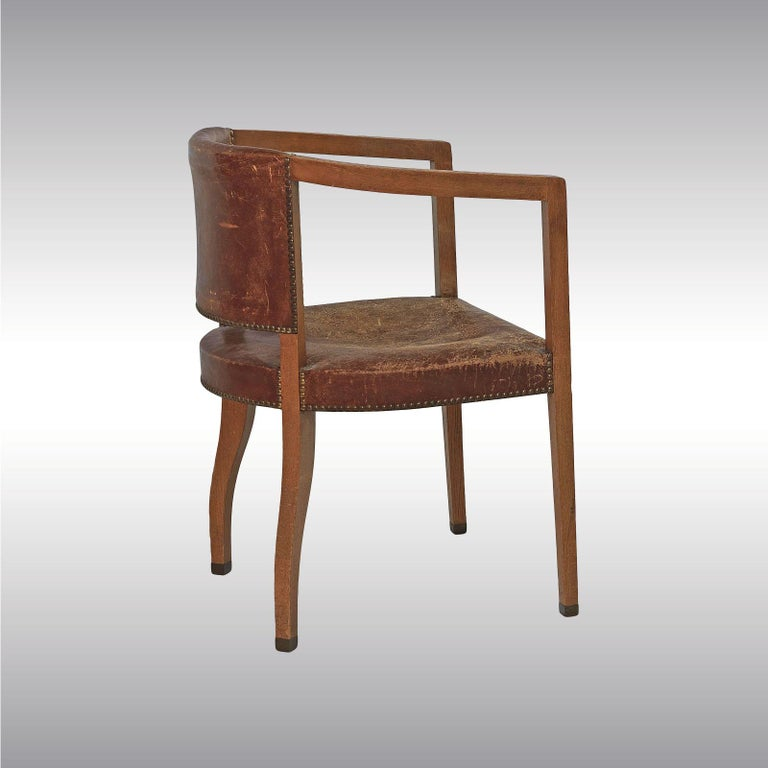 Extremely rare pair of armchairs for the dining salon of the Bergmann Villa near Vienna. The Interior of the Villa Bergmann Shows especially the begin of the modern Architecture in 1902. Carl Witzmann, a Student of Josef Hoffmann, is among the most