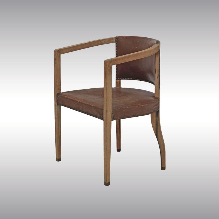 Vienna Secession Original Pair of Carl Witzmann Chairs House Bergmann Jugendstil/Secession Style For Sale