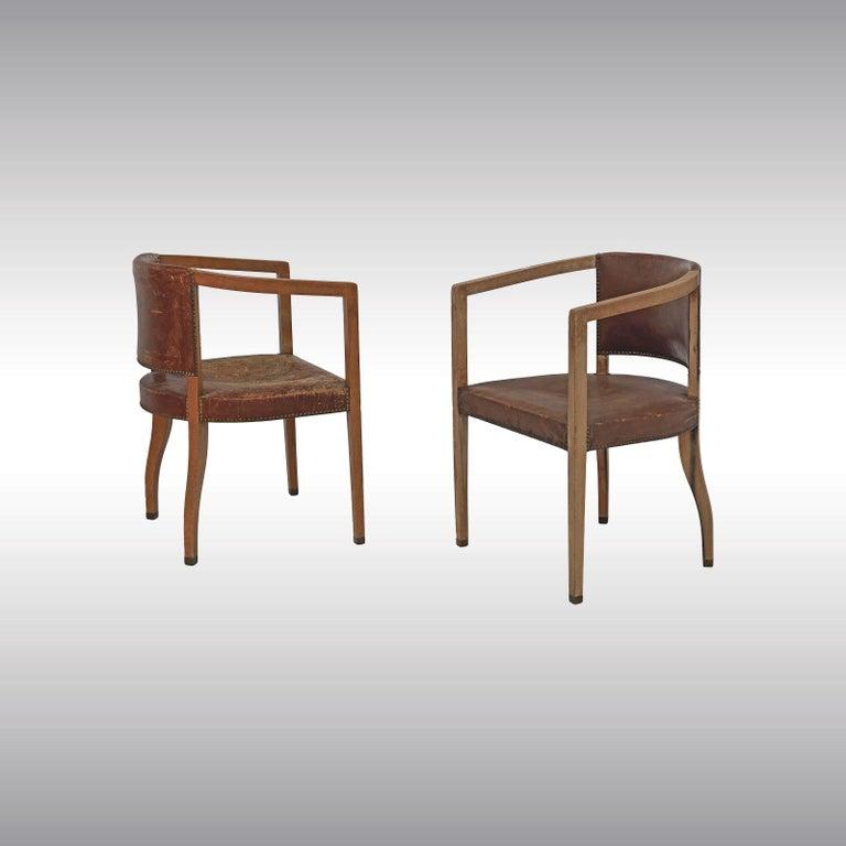 Austrian Original Pair of Carl Witzmann Chairs House Bergmann Jugendstil/Secession Style For Sale
