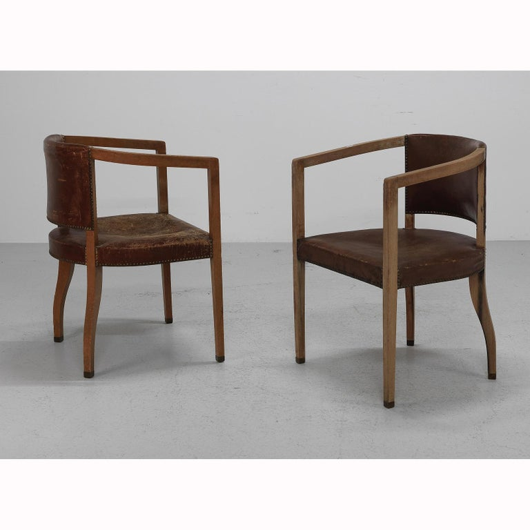 Hand-Crafted Original Pair of Carl Witzmann Chairs House Bergmann Jugendstil/Secession Style For Sale