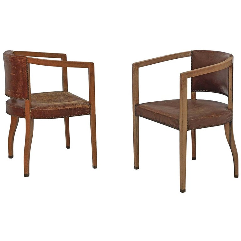 Original Pair of Carl Witzmann Chairs House Bergmann Jugendstil/Secession Style For Sale