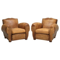 Original Pair of French Leather Club Chairs, Completely Restored Inside Only