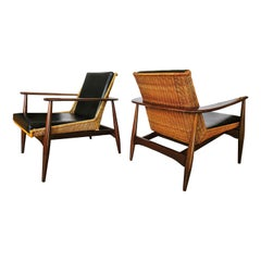 Original Pair of Rare Rattan and Teak Armchairs, Lawrence Peabody, Model 1806