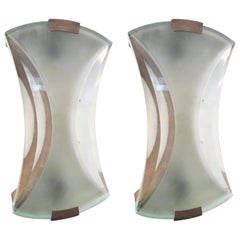Original Pair of Sconces Designed by Max Ingrand for Fontana Arte, Model 2225