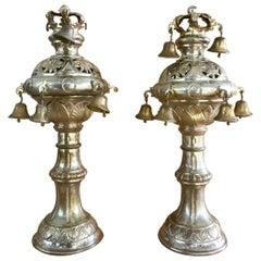 Original Pair of Silver Plated Brass Torah Finials, Rimonim