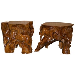 Original Pair, Root Wood Carved Equestrian Galloping Horse Side End Lamp Tables