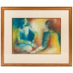 Original Pastel Drawing of 2 Figures, Signed by Artist and Dated 1965