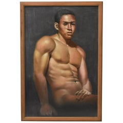 Original Pastel On Board Male Nude Unsigned