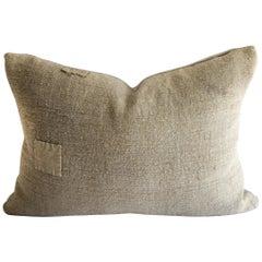Original Patchwork Grain Sack Pillow with Linen Flax linen