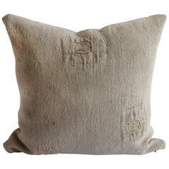 Original Patchwork Grain Sack Pillow with Linen