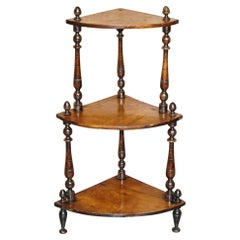 Original Patina Antique circa 1860 Burr Walnut Whatnot Corner Bookcase