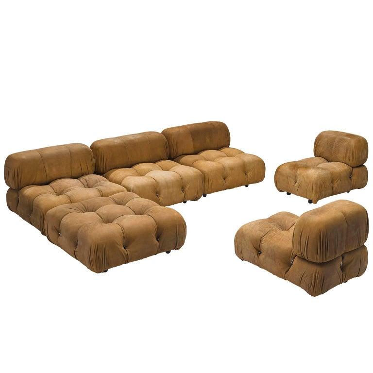 Original Patinated Cognac Leather Camaleonda Sofa by Mario Bellini