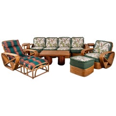 Original Paul Frankl Five-Strand 'Pretzel' Rattan Living Room Set
