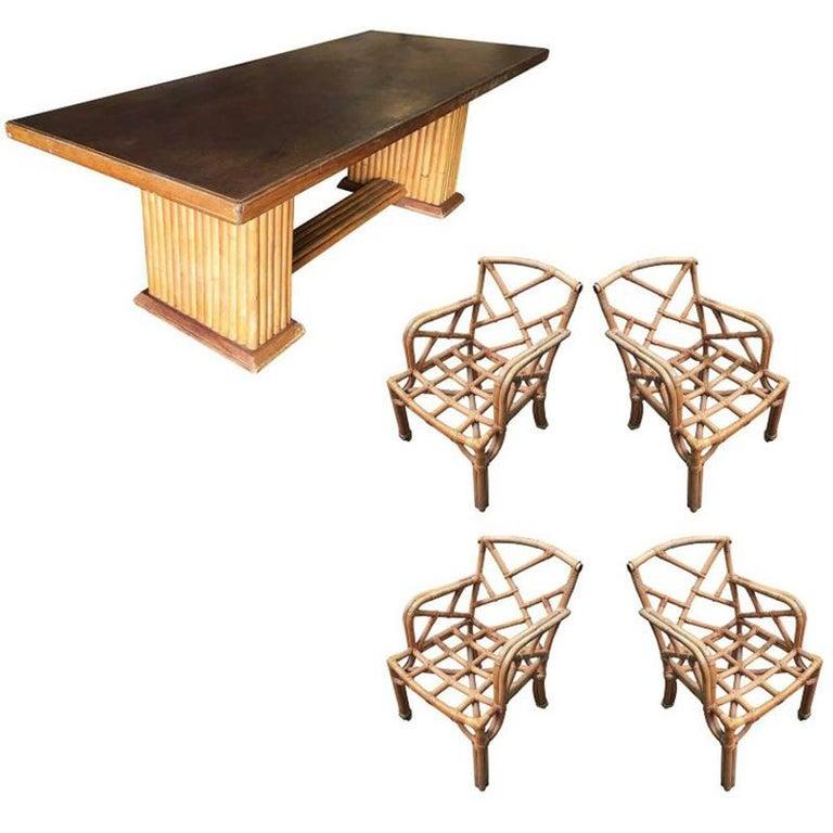 Rattan Original Paul Frankl Living and Dining Room Furniture Set For Sale