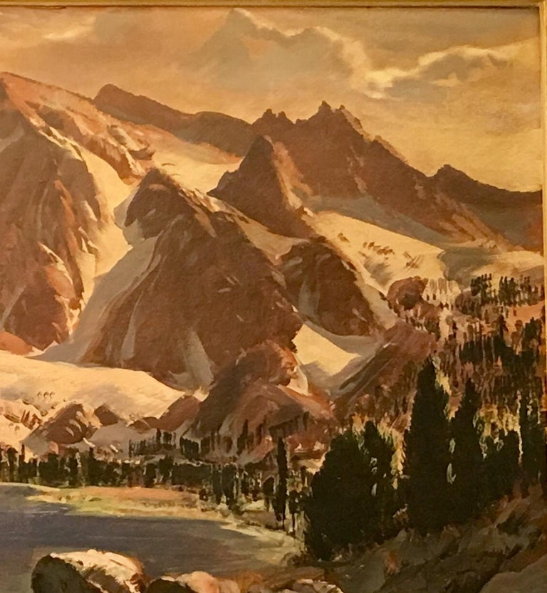 American Original Paul Lauritz High Sierras Nine Lake Basin Early California Oil Painting For Sale