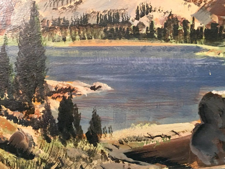 Hand-Painted Original Paul Lauritz High Sierras Nine Lake Basin Early California Oil Painting For Sale