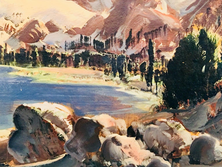 Original Paul Lauritz High Sierras Nine Lake Basin Early California Oil Painting In Good Condition For Sale In Tustin, CA