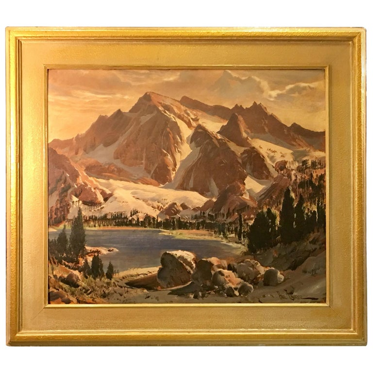Original Paul Lauritz High Sierras Nine Lake Basin Early California Oil Painting For Sale