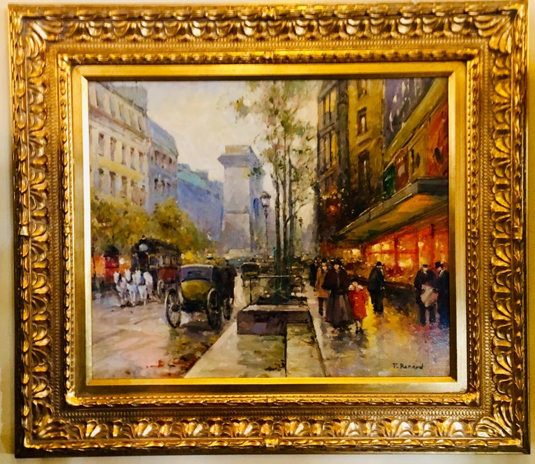 Vibrant, impressionistic, lively, original oil painting on canvas by listed, deceased French artist, Paul Renard (1941-1997), depicts a side view of the Arc de Triomphe, the hustle and bustle of a chilly Paris street filled with horses, carriages