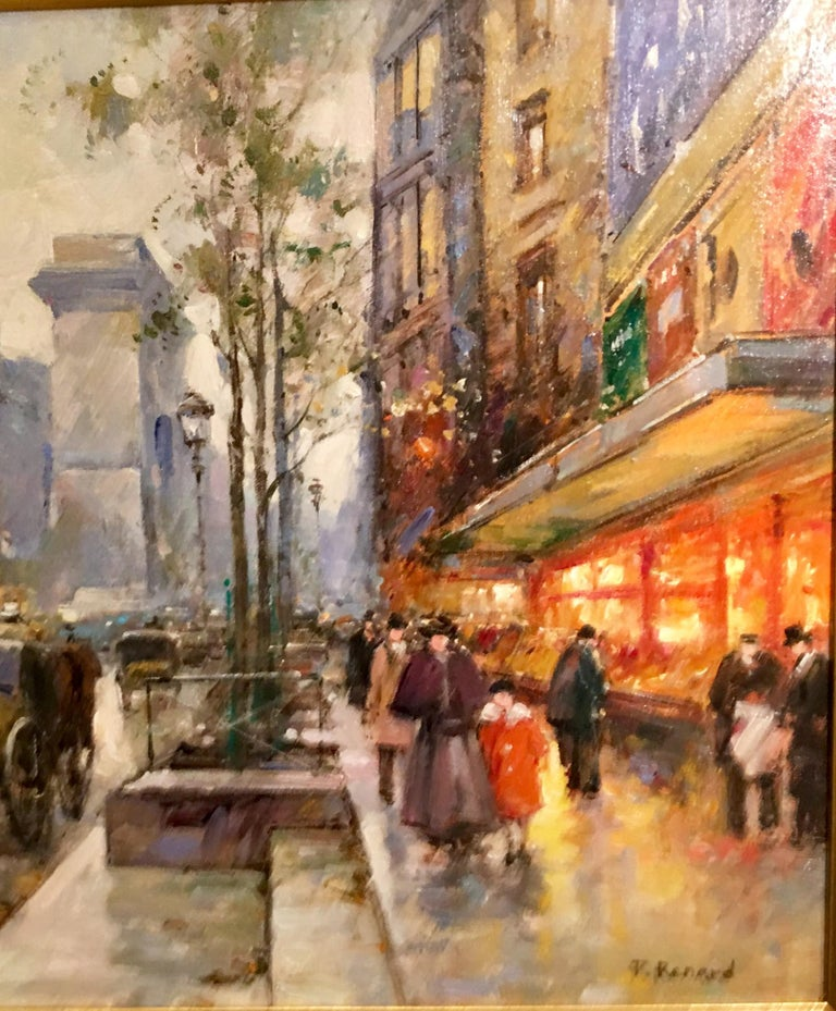 Other Original Paul Renard Oil Painting of a Parisian Street Scene on Avenue Montaigne For Sale