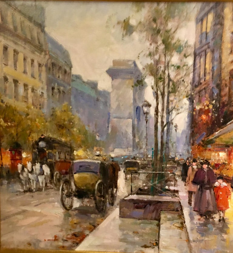 French Original Paul Renard Oil Painting of a Parisian Street Scene on Avenue Montaigne For Sale