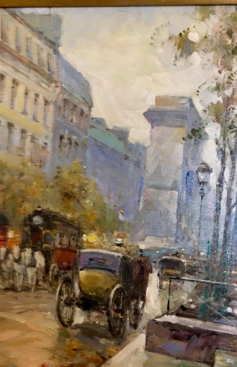 Hand-Painted Original Paul Renard Oil Painting of a Parisian Street Scene on Avenue Montaigne For Sale