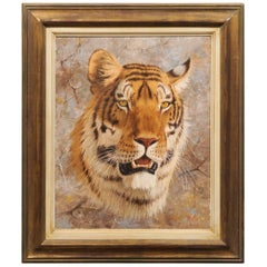 Original Paul Rose Framed and Signed Wildlife Painting Depicting a Tiger Head