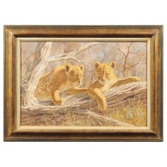 Original Paul Rose Framed and Signed Wildlife Painting Depicting Two Lion Cubs