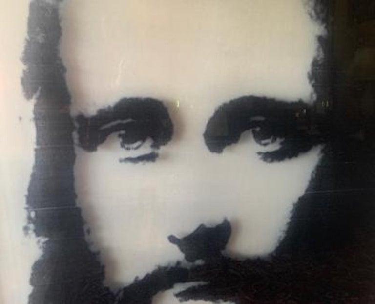 Very large, original digital screenprint on Plexiglas with nail polish on c-print, mounted to Sintra board, mixed media work of art of Jesus entitled