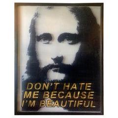 "Original Paul Rusconi ""Don't Hate Me Because I'm Beautiful"" Naked Jesus Painting"