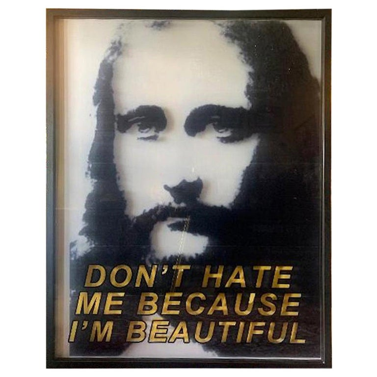 """Original Paul Rusconi """"Don't Hate Me Because I'm Beautiful"""" Naked Jesus Painting For Sale"""