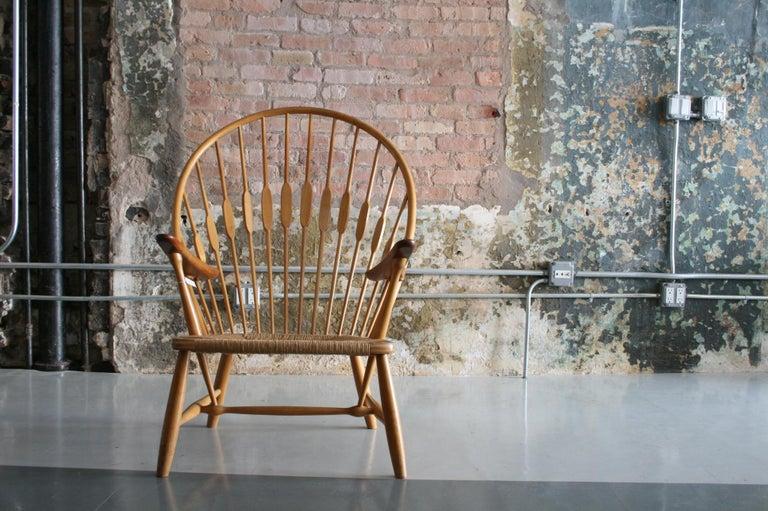 Scandinavian Modern Original Peacock Lounge Chair by Hans J Wegner for Johannes Hansen Denmark For Sale