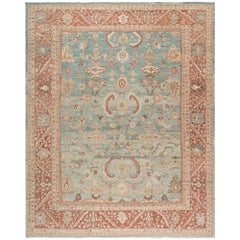 Original Persian Ziegler Sultanabad Hand Knotted Rug in Camel, Blue and Red