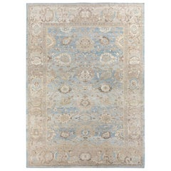 Original Persian Ziegler Sultanabad Rug in Pale Blue and Beige