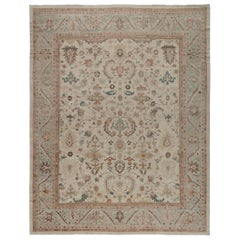 Original Persian Ziegler Sultanabad Rug in Pale Blue, Beige, and Rust Colors