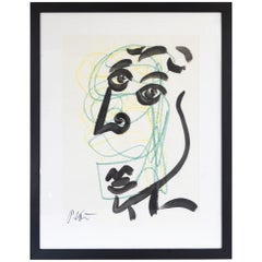 Original Peter Keil Framed Acrylic and Pen on Paper