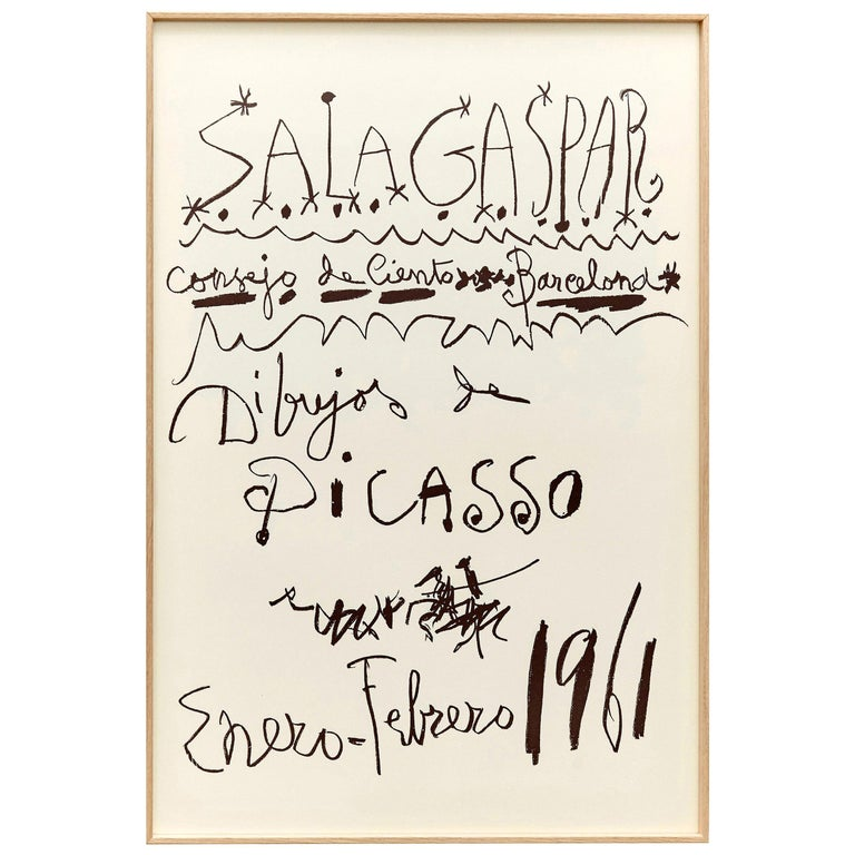 Original Picasso Lithography, Drawings Exhibition, 1961 For Sale