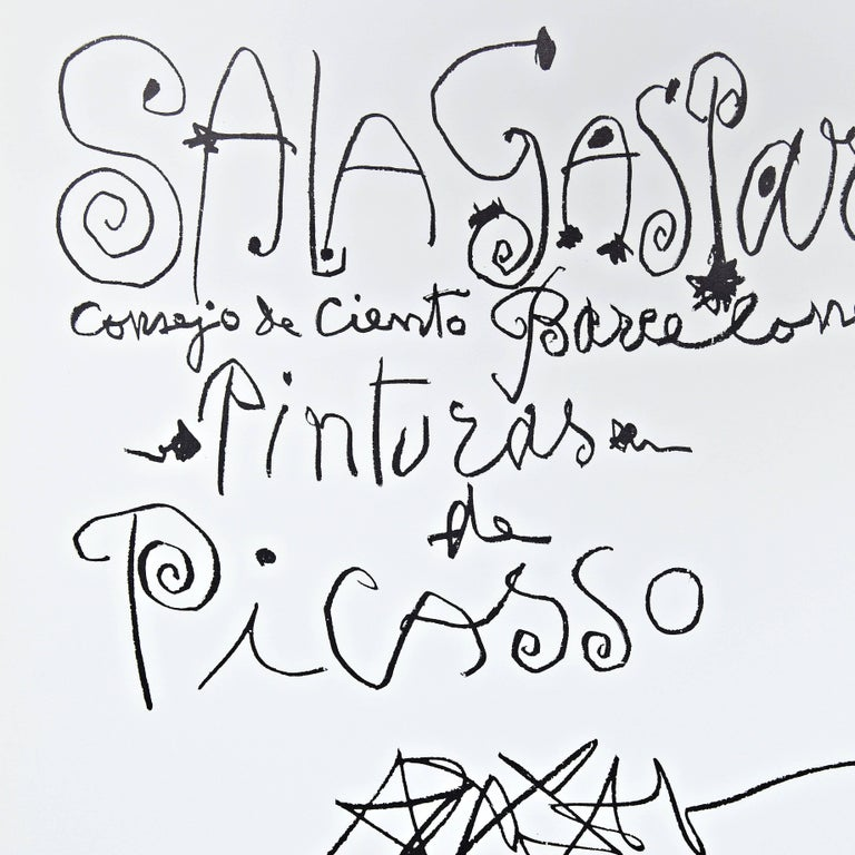 Original lithography poster by Pablo Picasso, 1960.  Made by himself as the poster of his exhibition on the Gallery