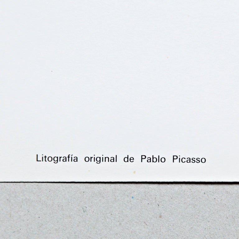 Spanish Original Picasso Lithography, Painting Exhibition, 1960 For Sale