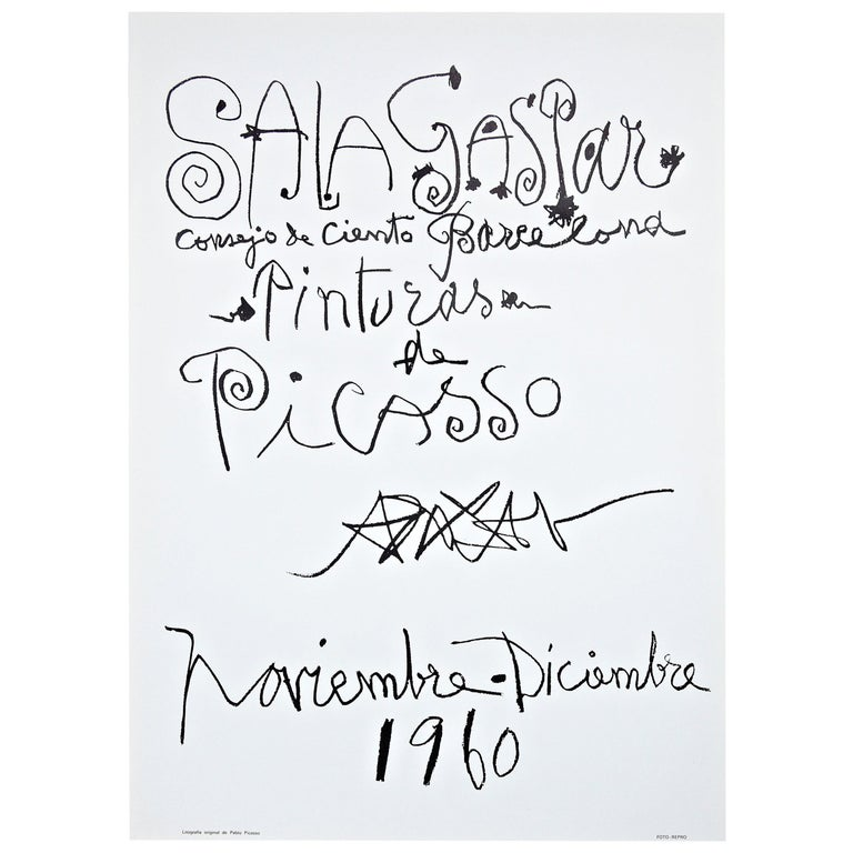 Original Picasso Lithography, Painting Exhibition, 1960 For Sale