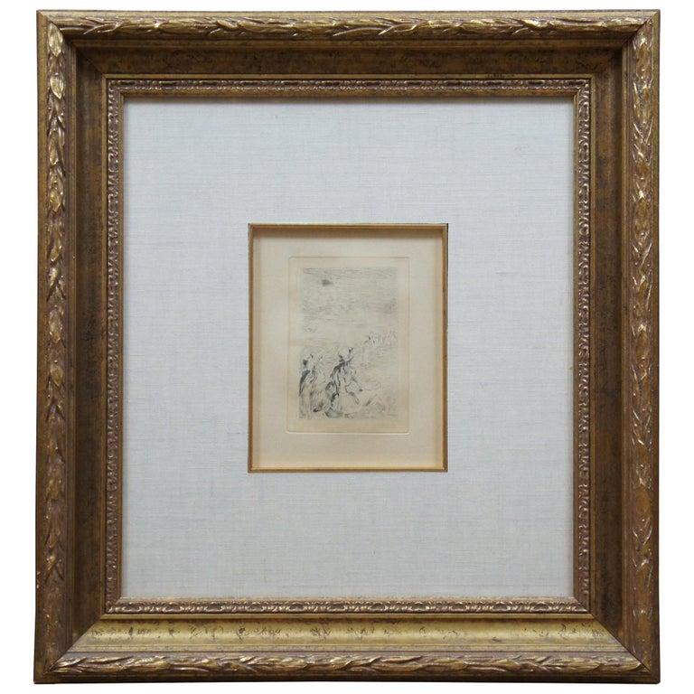 "Original Pierre Auguste Renoir Sur la Plage ""On the Beach"" Framed Etching"