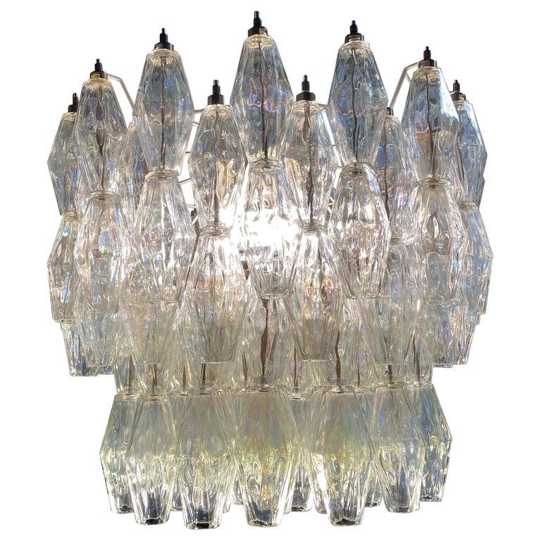 Original Poliedri Chandelier by Carlo Scarpa for Venini, Murano, 1960s For Sale
