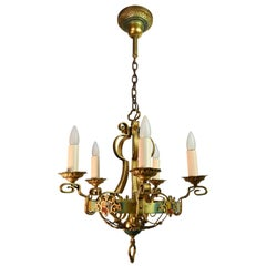 Original Poly Chrome Finish 5 Candle Chandelier