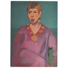 Original Portrait Painting of a Bougie Woman 20th Century Unsigned