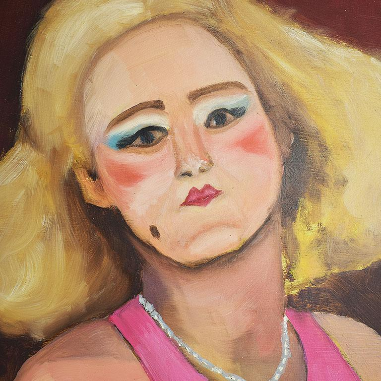 Portrait painting of a pinup woman in full makeup in pink. This striking piece depicts a woman with big blonde hair curled and pinned to the side. She wears blue eye makeup, a bright lip and blush, and a beauty mark. Her pink sleeveless dress has a